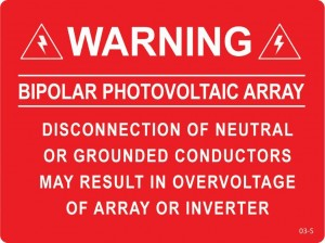 Warning Bipolor photovoltaic array