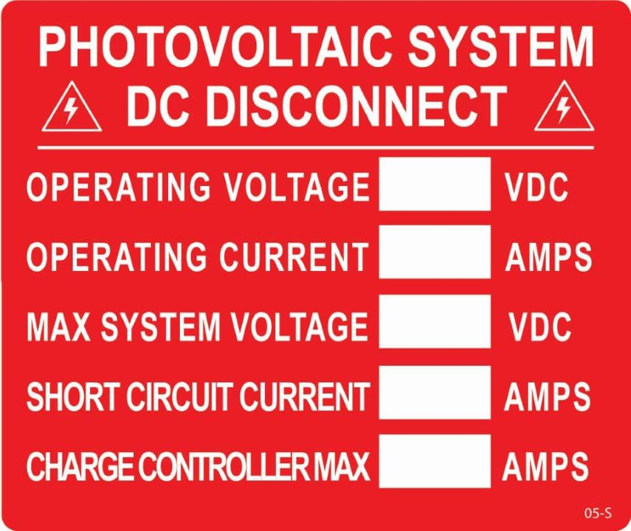 05 S Photovoltaic System Dc Disconnect Solar Warning Labels
