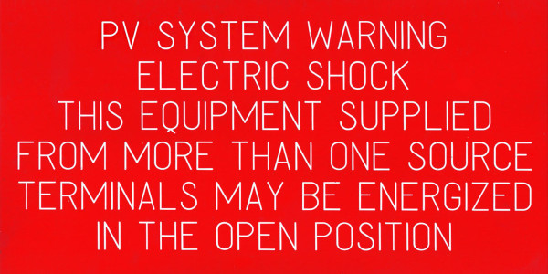 PV System Warning. Electric Shock , This Equipment Supplied From More than One Source Terminals May Be Energized In The Open Position
