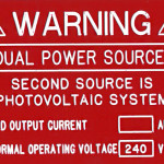 Warning. Dual Power Sources. Second Source is Photovoltaic System (Engraved)