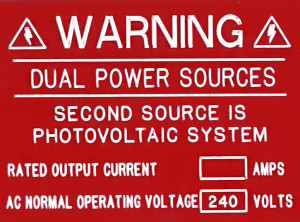 Warning. Dual Power Sources. Second Source is Photovoltaic System