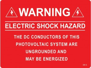 Warning electric shock hazard