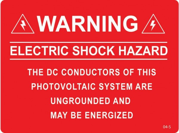 Warning electric shock hazard