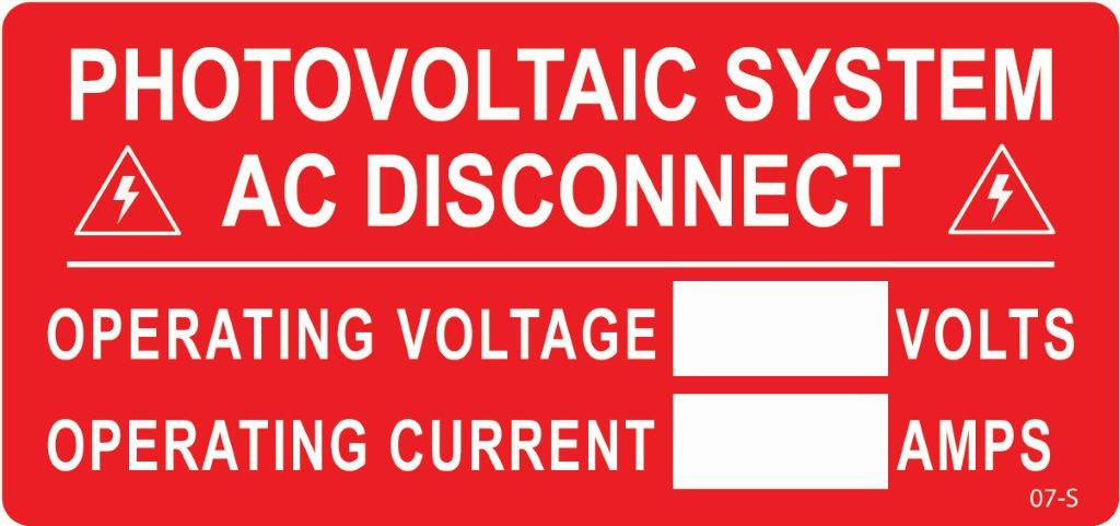 Photovoltaic system ac disconnect