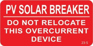 Solar Warning Labels PV Solar Breaker