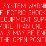 PV System Warning. Electric Shock , This Equipment Supplied From More than One Source Terminals May Be Energized In The Open Position (Engraved)