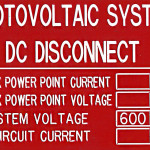 Photovoltaic System. DC Disconnect (Engraved)
