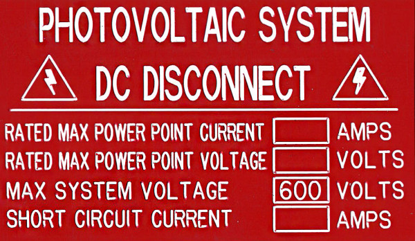 Photovoltaic System. DC Disconnect